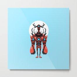 Pixel Lobster Droid Metal Print