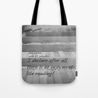 jane austen Tote Bags featuring Jane Austen Reading by KimberosePhotography