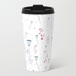 Floral pattern in blue and red Travel Mug