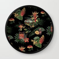 jurassic park Wall Clocks featuring Classic Jurassic by Josh Ln