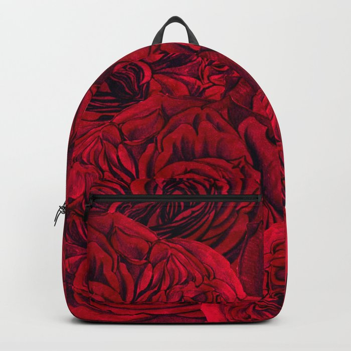 Rouge Garden - Red Roses and Peonies Pattern Backpack
