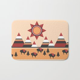 Sun, mountains and buffaloes - native Indian style landscape Bath Mat