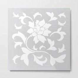 Oriental Flower - Silver Metal Print