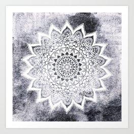 BOHO WHITE NIGHTS MANDALA Art Print