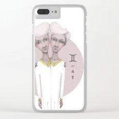 gemini astro portrait Clear iPhone Case
