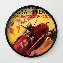 1948 Vintage Barcelona Car Racing Motor Sport Penya Rhin Grand Prix Gran Premio Advertisement Poster Wall Clock