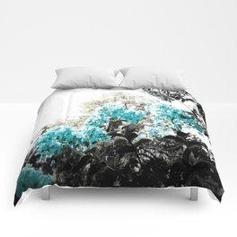 Turquoise & Gray Flowers Comforters