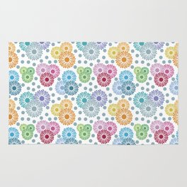 Colorful Floral Graphic Design Rug