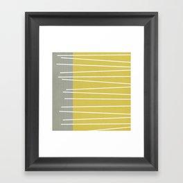 MId century modern textured stripes Framed Art Print