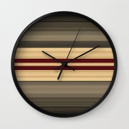 Rich Gold Burgundy Stripes Wall Clock
