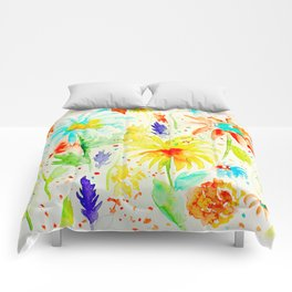 Watercolor Abstract Floral Pattern Red Orange Blue Daisies Comforters