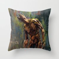 groot Throw Pillows featuring I am Groot! by Wisesnail