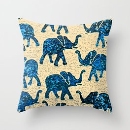 Elephant March Blue Throw Pillow