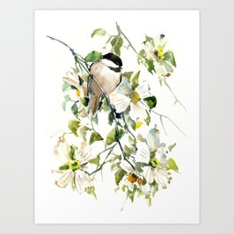 chickadee and dogwood, chickadee art design floral Art Print