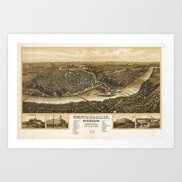 Aerial View of Chippewa Falls, Wisonsin (1907) Art Print
