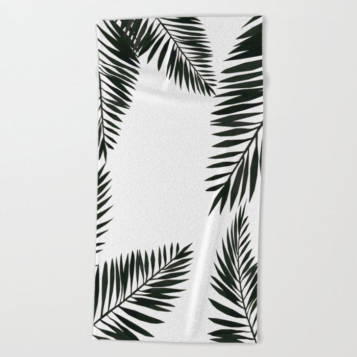 Black Watercolor Tropical Leaves Beach Towel