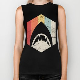 Retro 70s Great White Shark Icon Biker Tank