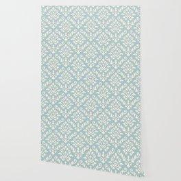 Damask Baroque Pattern Cream on Blue Wallpaper