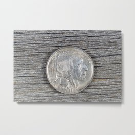 First year of original United States Buffalo Nickel on rustic wood Metal Print