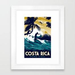 costa rica vintage retro surfing Framed Art Print