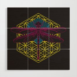 Dragonfly Flower of Life Wood Wall Art