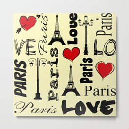 Paris text design illustration Metal Print