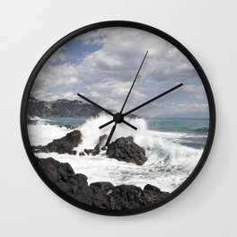 The Power of Sea on the Isle of Sicily Wall Clock