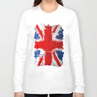 british Long Sleeve T-shirts featuring BRITISH FLAG by Sophie