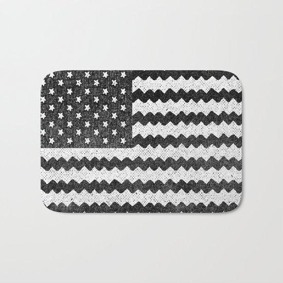 Black Zig Zag Flag Bath Mat