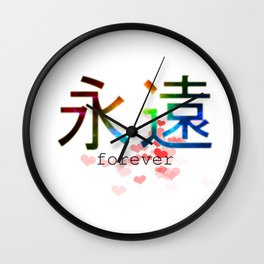 Forever japanese hieroglyph with red hearts, colorful space cosmos design Wall Clock