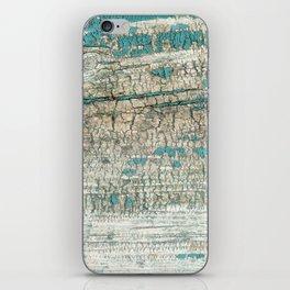 Rustic Wood Turquoise Weathered Paint Wood Grain iPhone Skin