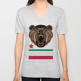 California Bear Flag Unisex V-Neck