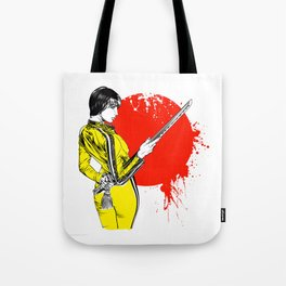 Women with sword on red sun Tote Bag