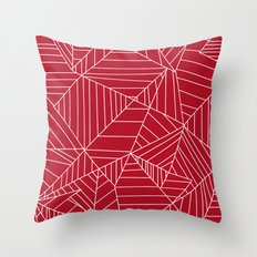 Lines, Shapes, and Planes Red Throw Pillow