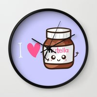 nutella Wall Clocks featuring Love Nutella by Kleviee