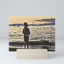 Sunset Lake Life Mini Art Print