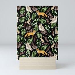 Foxes, owls, rabbits. Black pattern Mini Art Print
