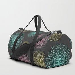 Lace mandala circles pastel colors on dark background Duffle Bag