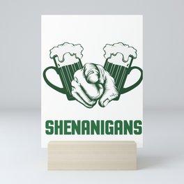 Shenanigans Beer Festival Clover Shamrock Lacrosse Ireland Irish Gift Mini Art Print