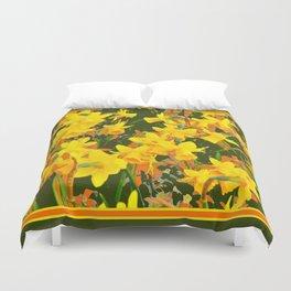 Olive Green Golden Daffodils Garden Abstract Art Duvet Cover