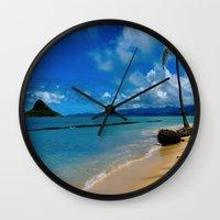 hawaiian Wall Clocks featuring Hawaiian Dreams by Upperleft Studios