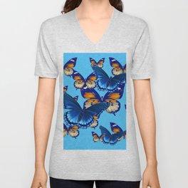 MODERN ART DECORATIVE BLUE-BROWN  BUTTERFLIES Unisex V-Neck