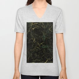 Dark Marble - Abstract, textured, black and gold marble Unisex V-Neck