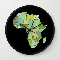 south africa Wall Clocks featuring Africa by Emir Simsek