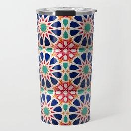 -A21- Traditional Colored Moroccan Mandala Artwork. Travel Mug