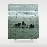 the whale Shower Curtains featuring Whale by WonderfulDreamPicture