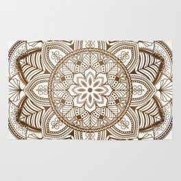 Mandala Brown Floral Moroccan Pattern on Beige Background Rug