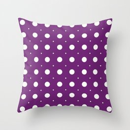 Beige circles of different sizes over purple background Throw Pillow