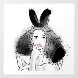 Fashionable easter bunny girl Art Print