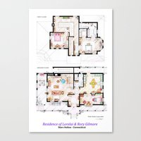 gilmore girls Canvas Prints featuring House of Lorelai & Rory Gilmore - Both Floorplans by nikneuk